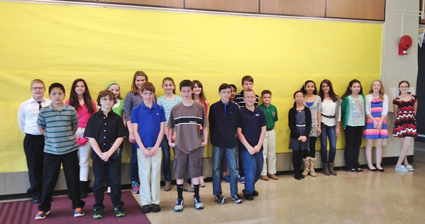 In no particular order, the Boyertown sixth grade students who participated were: Julianna Shunk, Jocelyn Lear, Lackshika Rajendrackumaar, Alexis Jacobs, Ryan Leflar, Alex Young, Christopher Goggin, PJ Riddell, Hannah Feist, Brandon Westermann, Kyle Rodriguez, Rachel Drakes, Isabelle Montanye, Marissa Weitzel, Emily Myers, Julia Fluke, Nick Ruppert, Shelby Anthony, Elise Rota, Kevin Lee, Aaron Wilhelm and Ashley Anousaya.