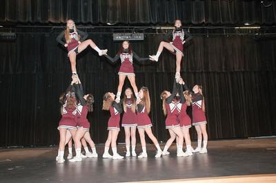 Patriot photos by Scott Weldon Brandywine Heights cheerleaders get the crowd pumped up.