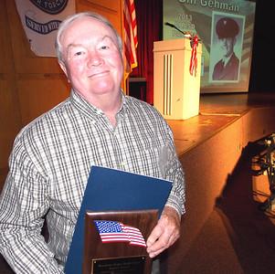 Patriot photo by Lisa Mitchell Veteran William Gehman, Topton, received the Brandywine Heights School District Patriot Award during the district's Veteran's Day program Nov. 11.