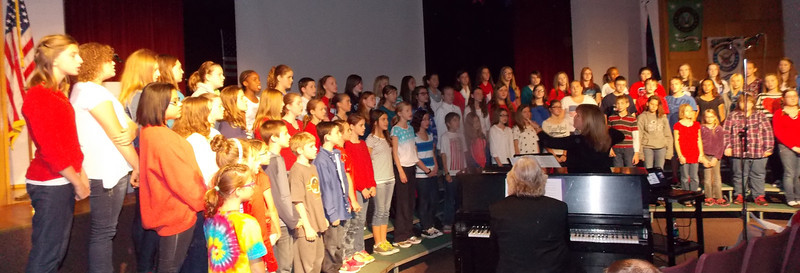 """Patriot photo by Lisa Mitchell Brandywine Heights 6th, 7th and 8th Grade Chorus sings """"America; The Spirit Lives on!"""" during the district's Veteran's Day program Nov. 11."""