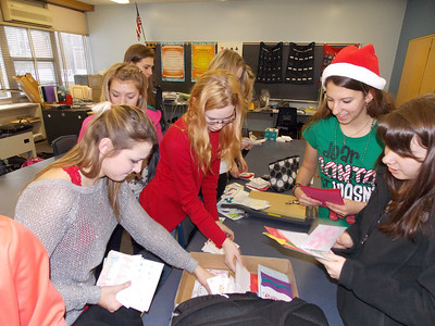 Patriot photos by Lisa Mitchell Kutztown Student Council prepare to deliver holiday letters to residents at Kutztown Manor.