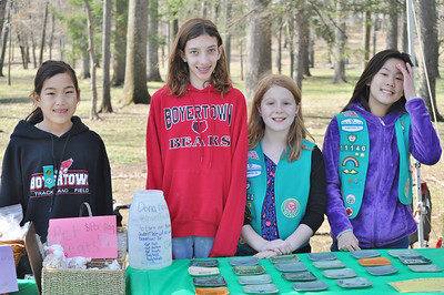 Submitted photo Members of Junior Troop 11140, Marlaina Garczynski, Anna Whiteley, Emily Hamlon and Malia Gatto selling their handmade dog toys, cat toys and pet plates.  Proceeds from the sale will go towards the purchase of items needed to make cat shelters.  This project is to earn their Bronze Award.