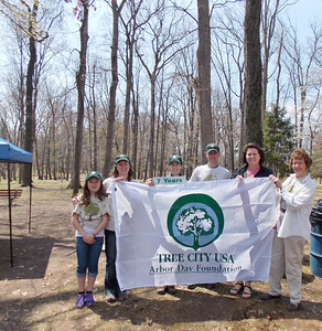 Boyertown is dedicated a Tree City USA for the 7th year in a row at Boyertown's Earth Day celebration in the park on Saturday, April 26. From left to right are:  Sandra Rosales, Adrianne Blank, Kathy Kirk, Seth Kurtz, Renee Gladieux Principe, and Mary-Lou Haddad.