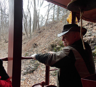Dr. James Tribbett of the Boyertown Lions Club enjoys the ride on the caboose on Friday, Jan. 17.