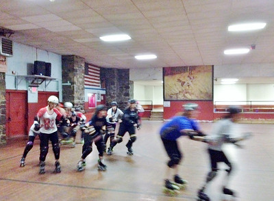 Skaters at the Pottstown Roller Derby's Fresh Meat practice.