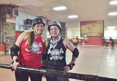Tamrin Steinmetz of Pennsburg, most commonly known as her derby name Splinch, coaches the fresh meat program will the help of Dee-Dee 'Bomb Digga-Dee' Kelly of Barto.